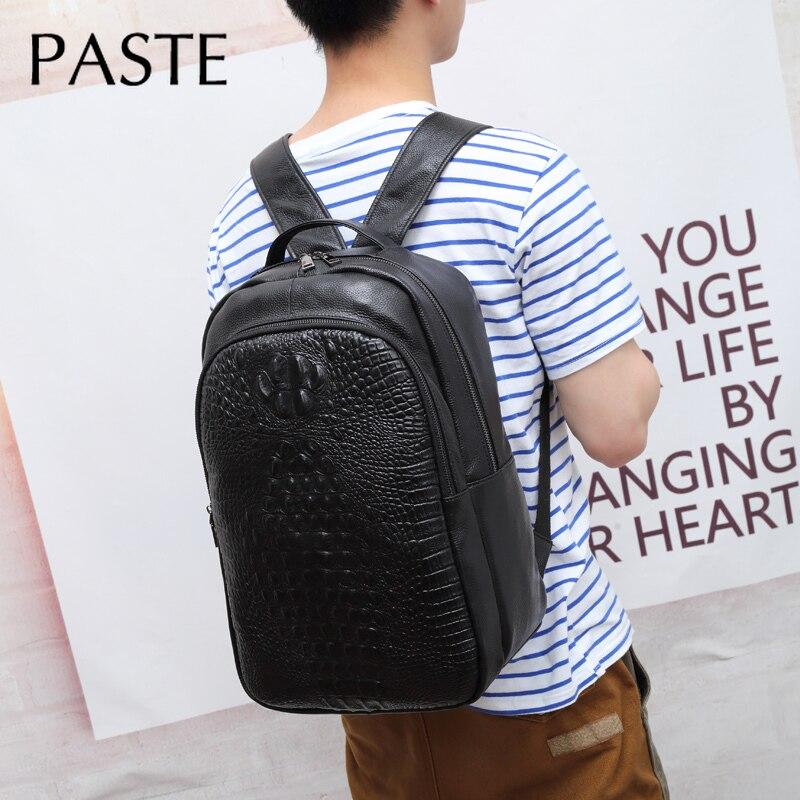 Chic männer Kuh Leder Rucksack Präge Krokodil Muster Luxus Exquisite Laptop Schule Tasche Aus Echtem Leder Männlichen Bagpack-in Rucksäcke aus Gepäck & Taschen bei  Gruppe 3