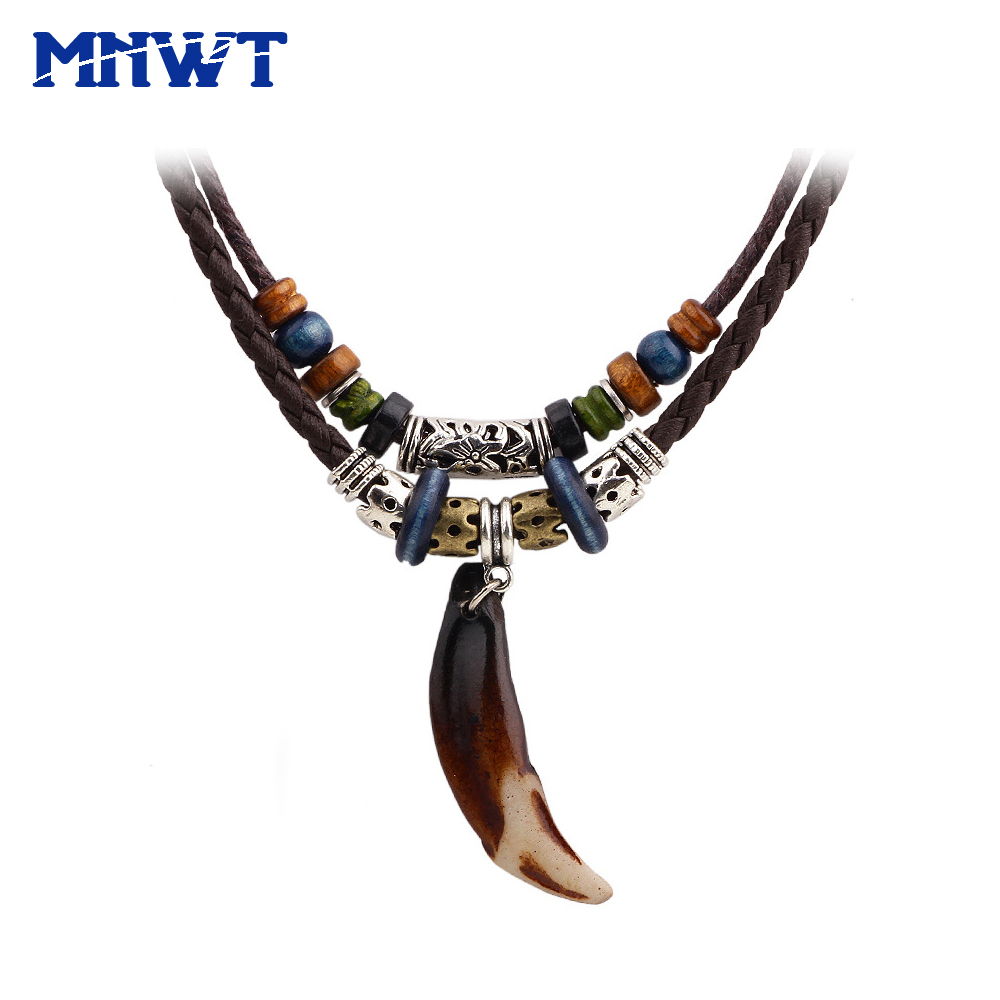 MNWT 1Pcs Vintage Man Wolf Tooth Pendant Necklace Antique Color Tribal Stark Amulet Pendant Necklace Fashion Jewelry For Men