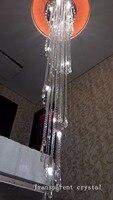 Kristall kronleuchter LED licht luxus haus-deco kristall lüster treppe beleuchtung lange spirale hängen lampe