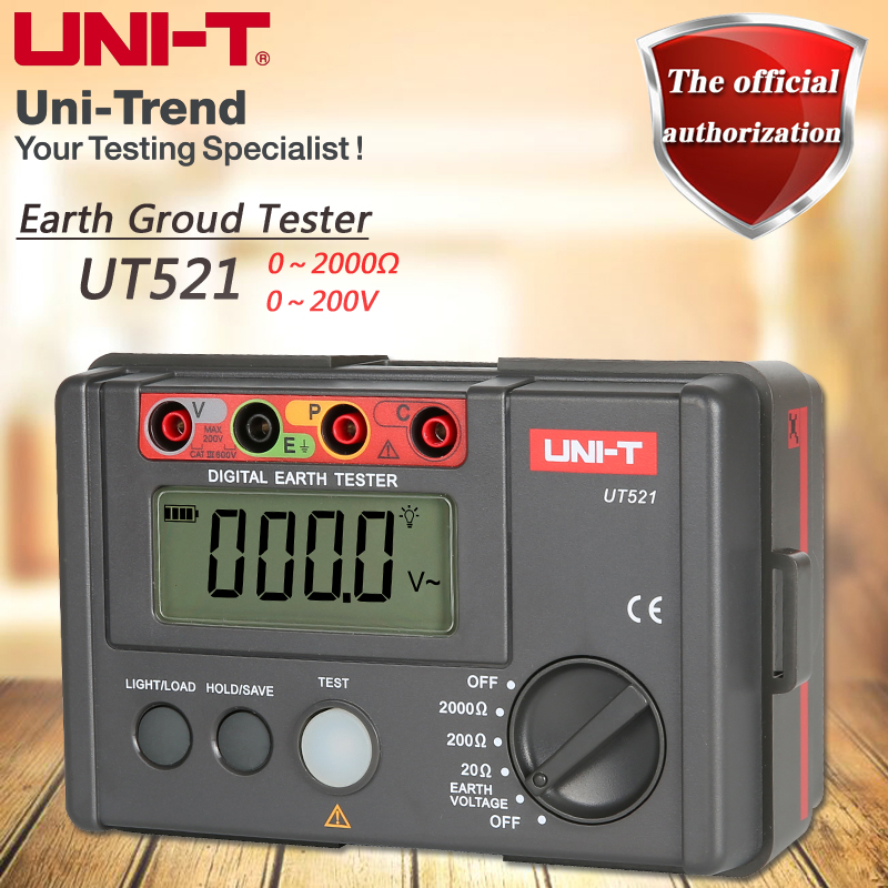 UNI-T UT521 Grounding Resistance Tester Low Voltage Display Data Storage Over Range Disp ...