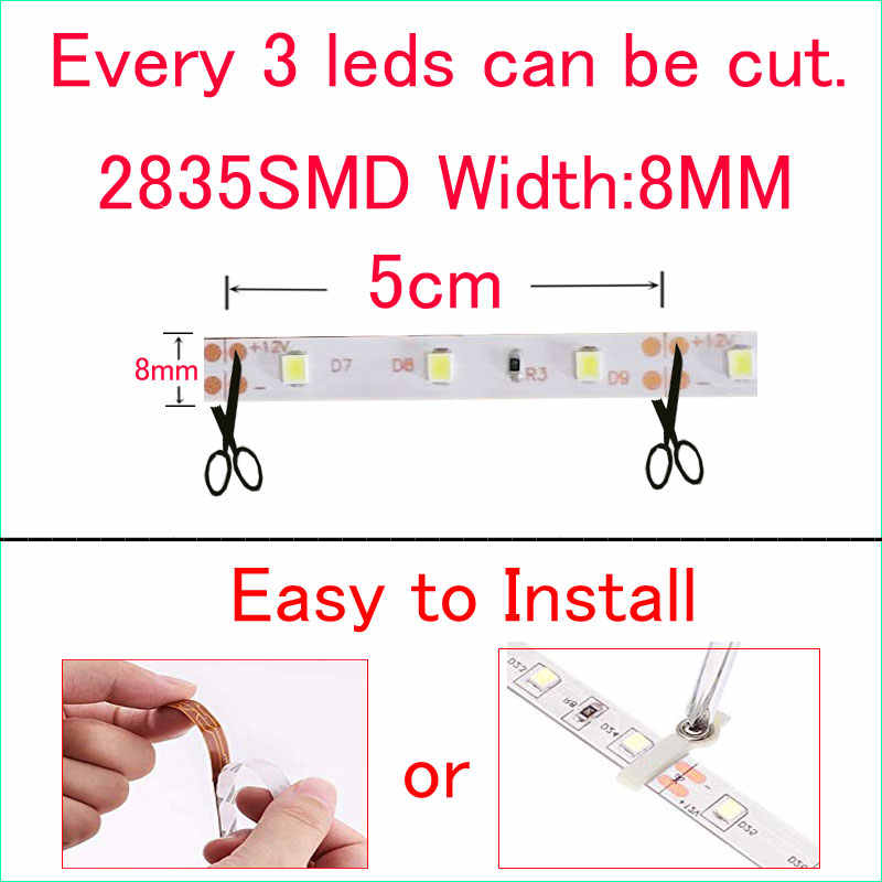 12 V Lampu Strip LED Dimmable SMD 2835 TIRAS Rgb Merah Biru Hijau Putih Hangat Putih Neon Fleksibel Ruban Lampada LED lampu Tape Natal