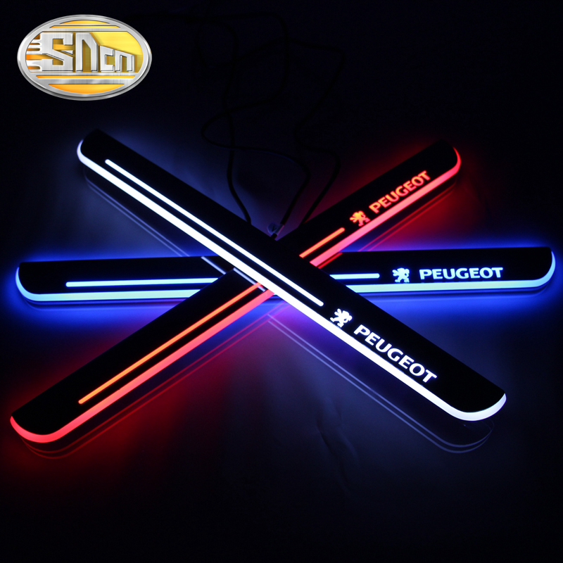 SNCN 4 pièces acrylique mobile LED bienvenue pédale voiture plaque de seuil de porte pédale voie de seuil lumière pour Peugeot 307 2010 2011 2012 2013