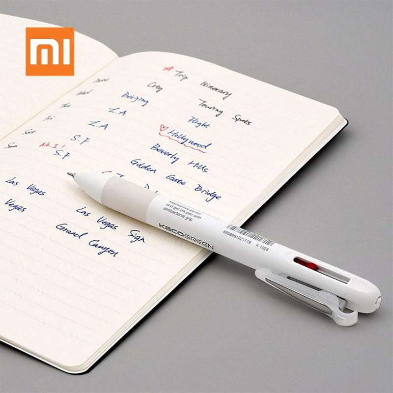 Ручка Xiaomi KACO 4 в 1 многофункциональная, 0,5 мм, черная, синяя, красная, сменная гелевая ручка, механический карандаш с японскими чернилами, для ш...