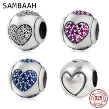 Sambaah True Love Charms 925 Sterling Silver Heart to Heart CZ Stone Love Beads for Original Pandora Valentine's Day Bracelet