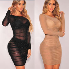 Women Sequins Mesh Bandage Bodycon Dress Party Dress Club Mini Dress Long  Sleeve Sweet Sexy Mini
