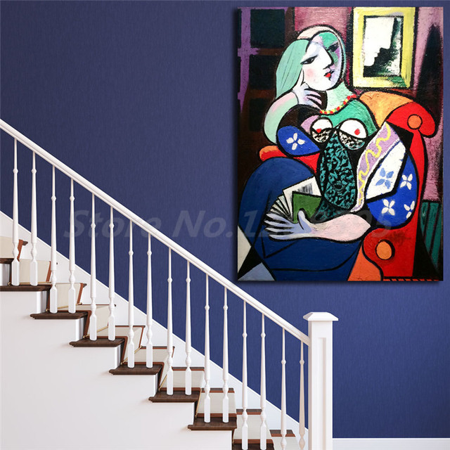 Lady With Book By Picasso Wall Art Canvas Poster And Print Canvas ...