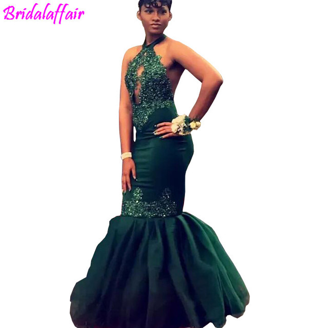 Dark Green Black Girls Mermaid Prom Dresses Long 2018 Halter Lace Appliques  Beaded Sexy Backless African Evening Party Gowns e8704e536