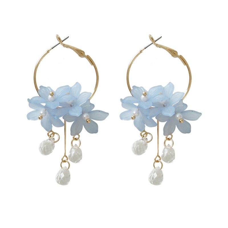 new female dust flower long pearl Stud earrings Acrylic jewelry fashion woman earrings 2018 fine jewelry accessories earrings in Stud Earrings from Jewelry Accessories