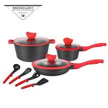 10pcs Non-stick Cast Aluminum Kitchen Cooking Casserole Frypan Pot Cookware Sets Utensi Kitchenware Sets with Marble Coating цена 2017