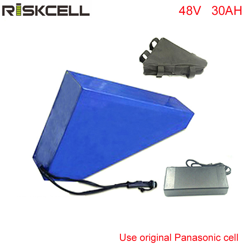 Free customs taxes electric bike battery 48V 30AH triangle battery 48V 1000W electric bicycle lithium battery For Panasonic cell 48v 34ah triangle lithium battery 48v ebike battery 48v 1000w li ion battery pack for electric bicycle for lg 18650 cell
