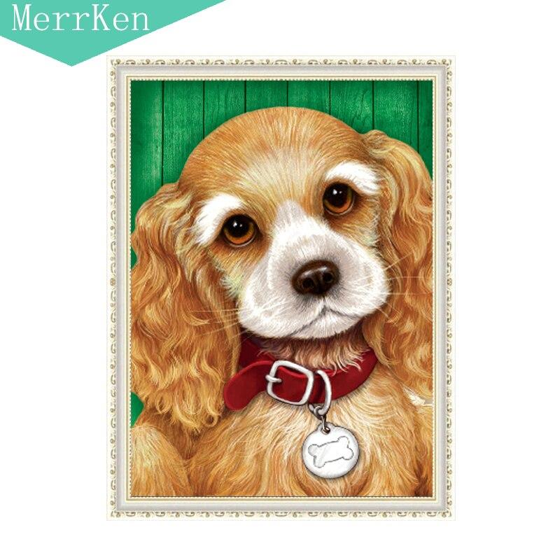 MerrKen Diy diamond painting Yellow dog resin Round diamond embroidery diamond mosaic Home decoration painting 30*40cm