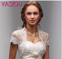 2017 New Fancy Wedding Shawl Short Sleeves White Ivory Wedding Jacket Lace Bolero Bridal Wrap Custom
