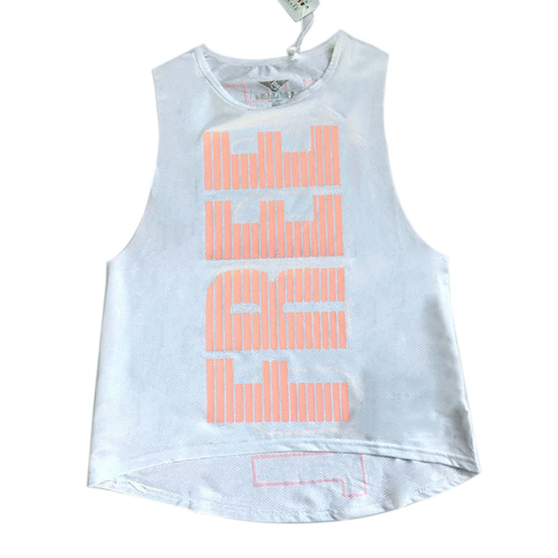 Women Printed Yoga Tops Fitness Running Breathable Vest Sports Gym Mesh Tank Top Sport Clothing in Running Vests from Sports Entertainment