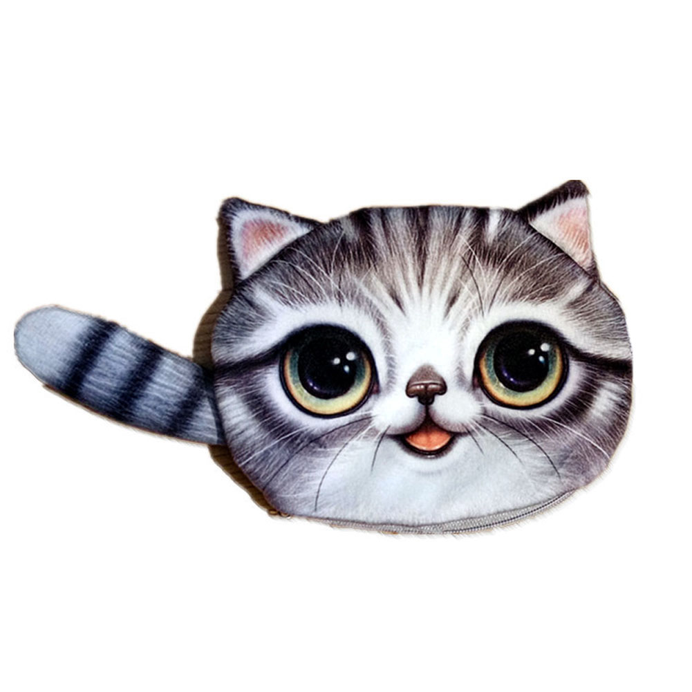 New Small Tail Cat Coin Purse Cute Kids Cartoon Wallet Kawaii Bag Coin Pouch Children Purse Holder Women Coin Wallet thinkthendo 3 color retro women lady purse zipper small wallet coin key holder case pouch bag new design