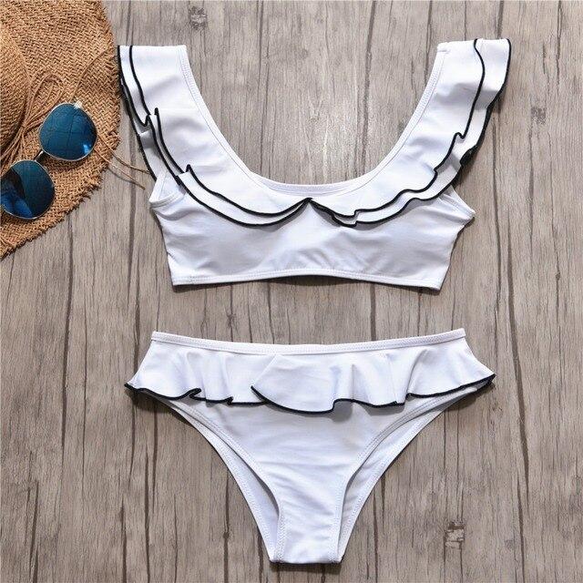 df24b25aeafc55 Solid Split Bikinis 2019 New Women's Swimwear Wooden Ear Swimsuits Low  Waist Sexy Bathing Suit Hot Sell Open Back Beach Wear