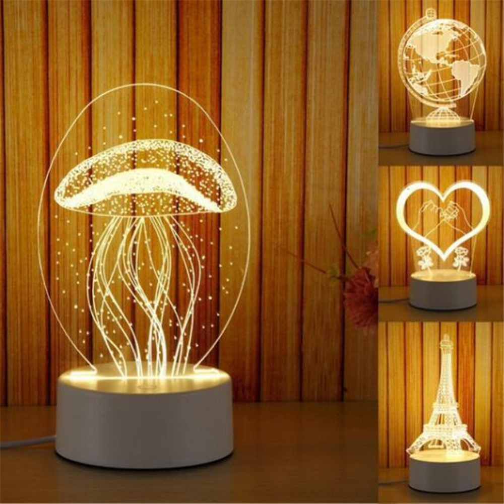 Novelty 3D Jellyfish Paris Tower LED USB Touch Table Lamp Creative Home Desktop Decoration Lamp Night Light Child Gift Figurines & Miniatures     - title=