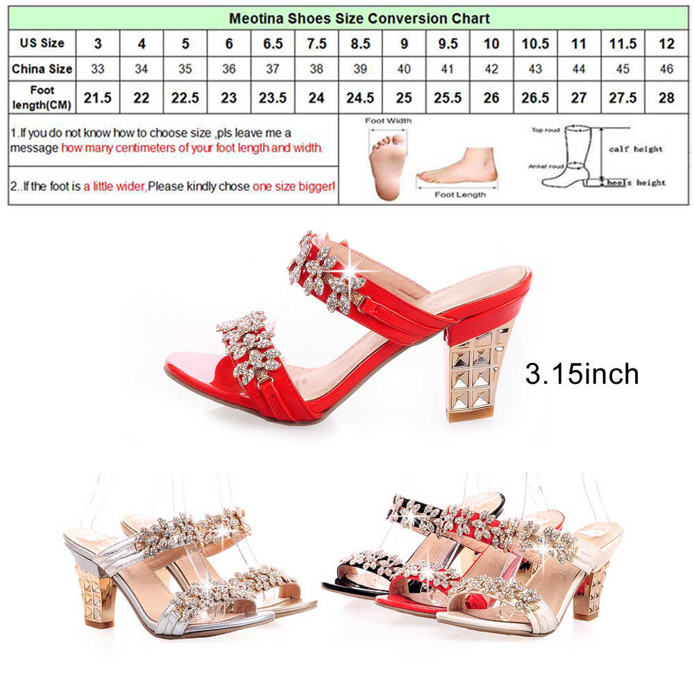 ... Meotina Bling Ladies Sandals Summer Open Toe Slippers Party Sandals  Chunky High Heels Shoes Women Rhinestone 5b1b7b20755f