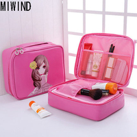 MIWIND Candy Color PU Leather Cosmetic Bag Makeup Bag Large Capacity Handbag Organizer Storage Pouch Toiletry