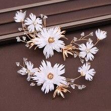 Headpiece Wedding Hairpins Hair-Accessories Flower White Jewelry Crystal Bride-Hair Floral
