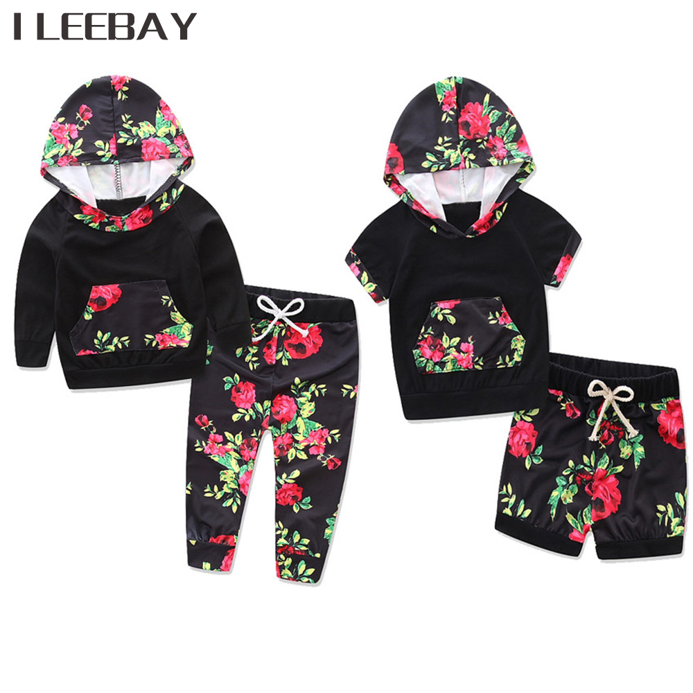 Baby Girl Clothing Sets Black Cotton Floral Print Hoodies Tops+Pants Newborn Clothes Toddler Girls Costume Suits Fashion Outfits children kids girls clothing sets outfits black clothes t shirt tops striped enfant cotton ruffled bow shorts skirt toddler girl