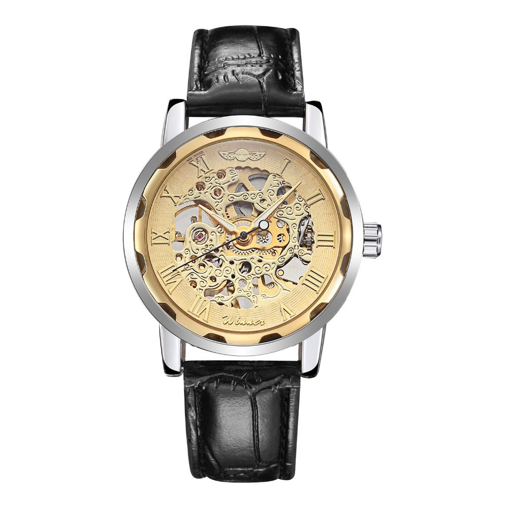 TOP 2016 Waterproof mechanical watch hollow out the small dial leather watch fashion leisure business watch