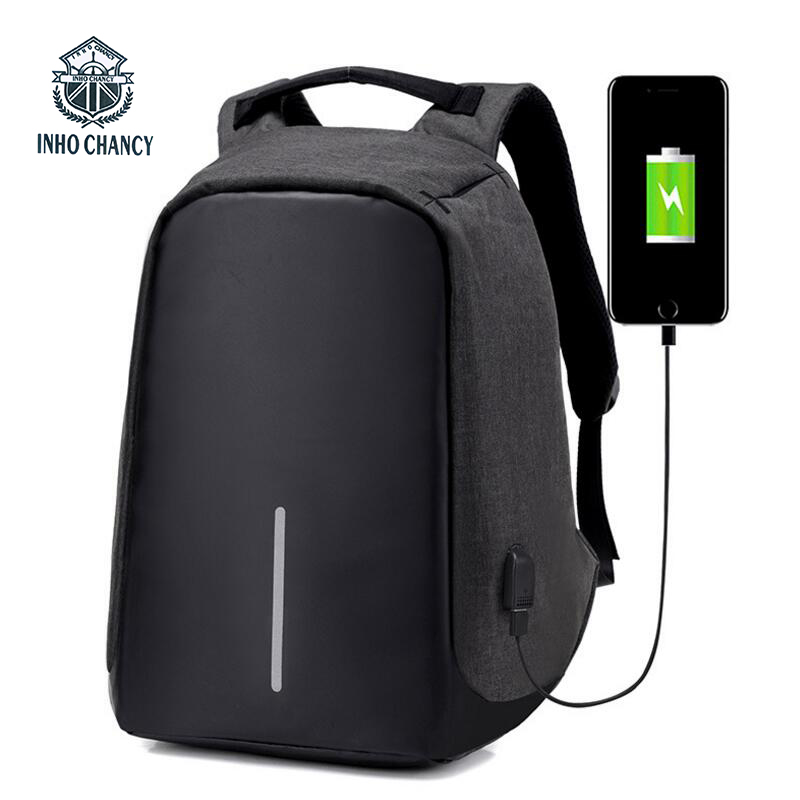 INHO CHANCY Anti-Theft Usb Charging Travel Backpack Function Laptop Backpack XD Design Bobby Man Business Women Bag schoolbag kingsons external charging usb function school backpack anti theft boy s girl s dayback women travel bag 15 6 inch 2017 new