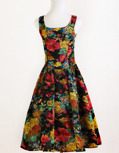 Vintage floral dress print revival 1940s style flower for Vintage wedding guest dresses
