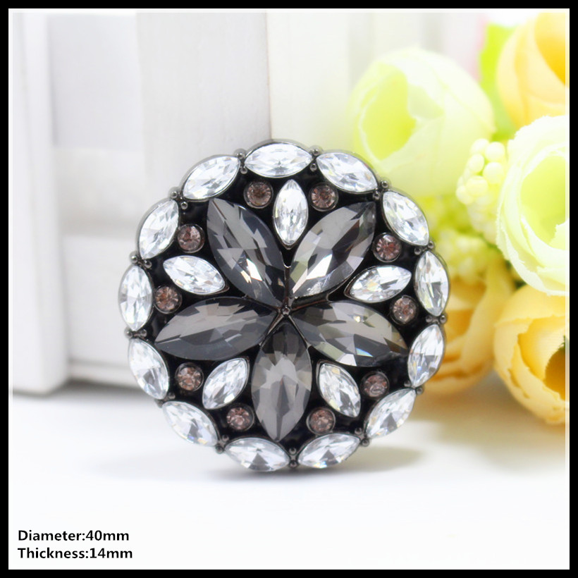 Free Shipping 40mm 1pcs Cool Flowers Metal Diamonds Clothing Accessories Overcoat Jacket Coat Buttons Sweater Shirt Button,016