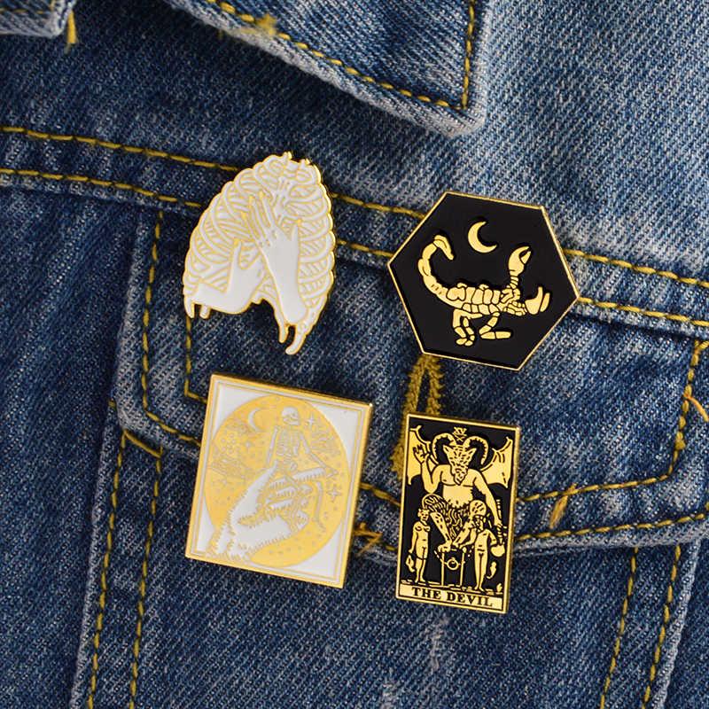Mingqi escuro costela gaiola abraço scorpions esqueleto diabo cabra satanás pino emblema liga de ouro esmalte broche camisa saco acessórios jóias