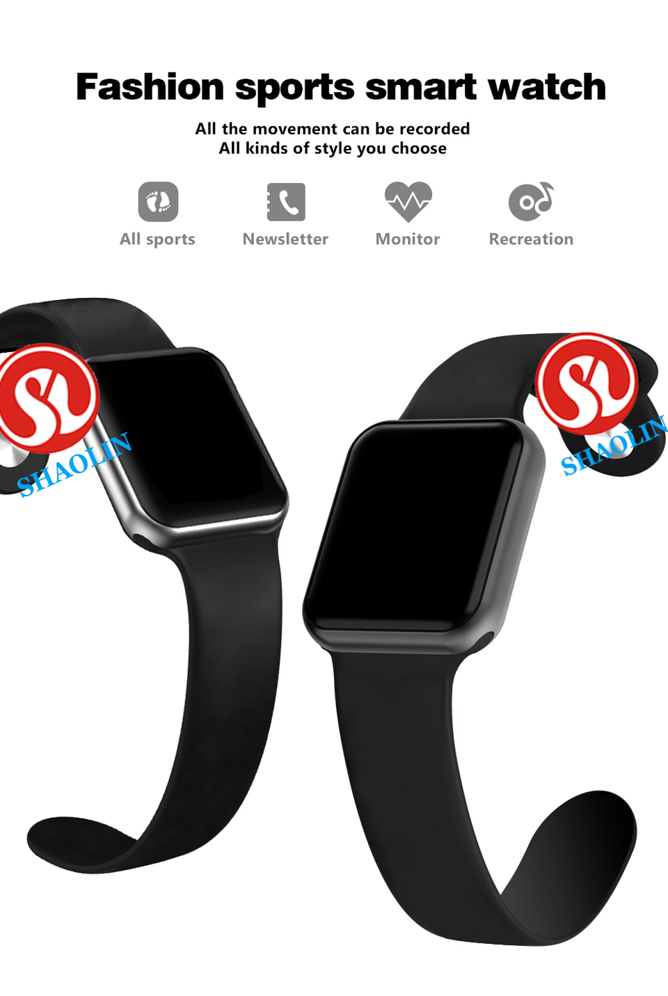 SHAOLIN Bluetooth Smart Watch Heart Rate Monitor Smartwatch Wearable Devices for apple watch iPhone IOS and Android Smartphones-01