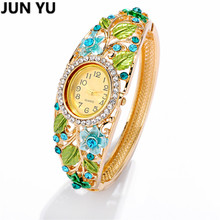 JUNYU 18K Gold Flower Painted  Women Fashion Watch Quartz Wristwatch Crystal Floral Sweet  Dress Watches Ladies Casual 5 Color