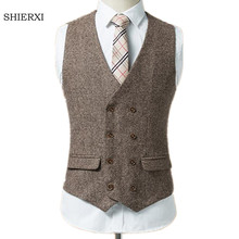 New arrival Men Vests British Style Woollen cloth Double Breasted Sleeveless Jacket Waistcoat Men Suit Vest size: S-5XL(China)