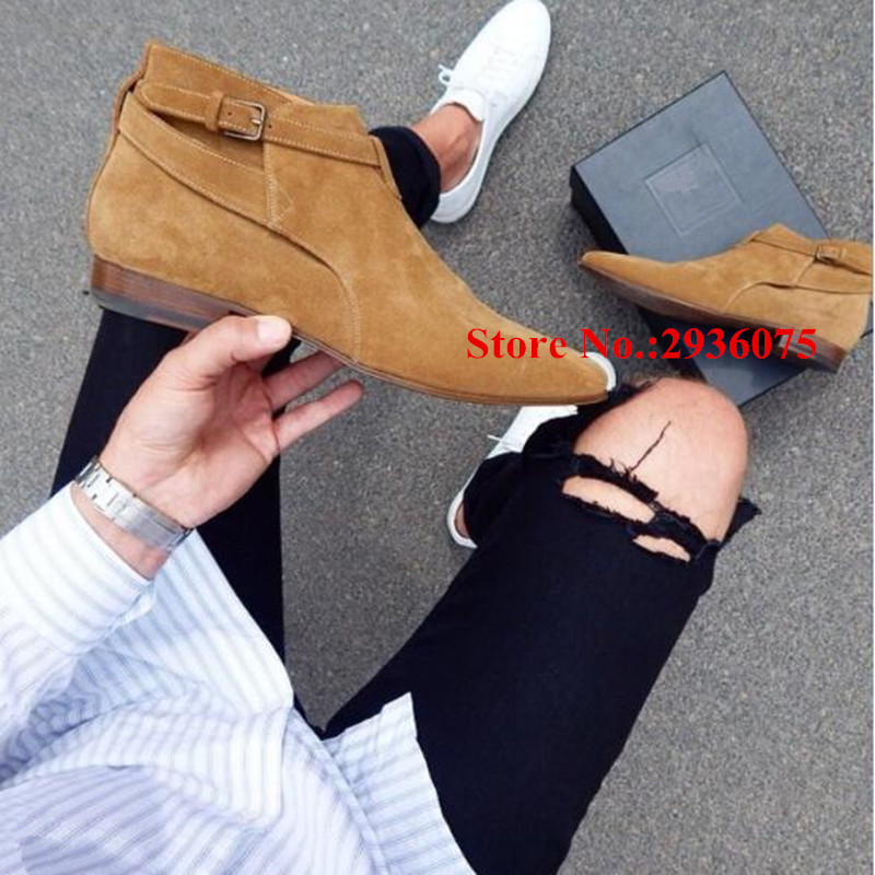 Fall Winter Botas Hombre Tan Suede Leather Belt Buckle Mens Ankle Boots Pointed Toe Stacked Heels Fashion Short Boots Men Shoes handsome red genuine leather men ankle boots metal pointed toe mens wedding dress shoes high top botas hombre cowboy boots
