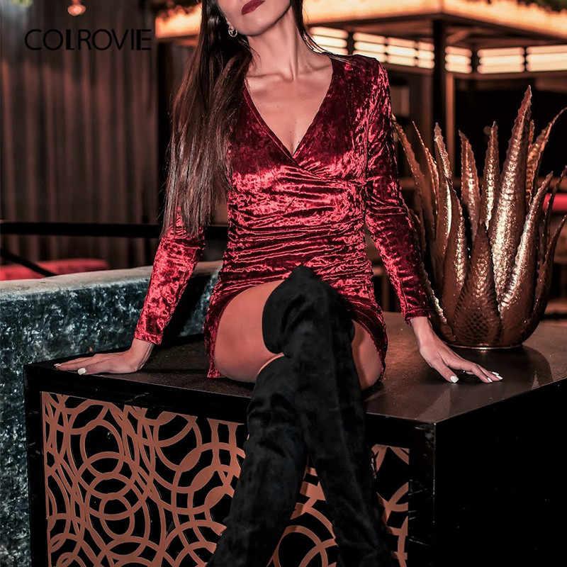 COLROVIE Бургундия Ruched накладки Surplice дробленое вельветовое платье для вечеринки женское весеннее Модное Элегантное мини-Клубное платье с v-образным вырезом