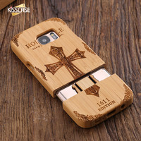 FLOVEME Case For Samsung S7 Original Combo 2 In 1 Natural Wooden Phone Cover Retro Wood