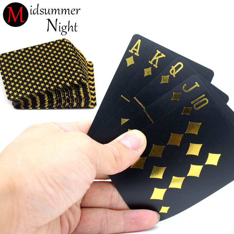 55pcs/deck Waterproof Luxury Black Gold Foil Plated Poker Premium Matte Plastic Board Games PVC playing cards