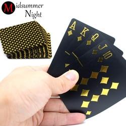 55 pces/deck à prova dwaterproof água luxo preto folha de ouro chapeado poker premium matte plástico jogos de tabuleiro cartões de jogo do pvc