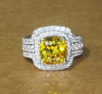 Hot Bridal Set Wedding Ring Set 3 Carat G H VVS1 Cushion Princess Cut Best Quality