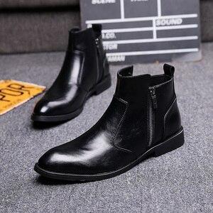 Image 3 - 英国スタイル男性ファッションパーティーナイトクラブドレス本物の革の靴オックスフォード靴春秋チェルシーアンクルブーツ