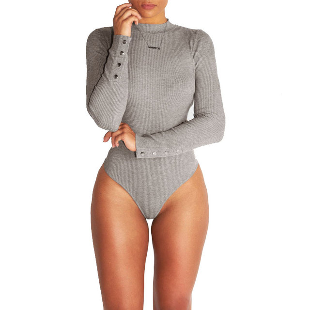 db4dc15d55a0 Sexy Bodysuit Women Turtleneck Bodycon Jumpsuit Rompers Fit Playsuits Long  Sleeve Overalls Combinaison Femme Body Tops
