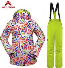 Wild Snow Waterproof Jacket Snow Ski Suit Set Womens Snowboard Jackets Mountain Ski Suit Women Skiing Clothing Set