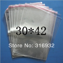 Bolsas transparentes de celofán/BOPP/polietileno, 30x42 cm, embalaje de bolsas de plástico, sello autoadhesivo, 30x42 cm