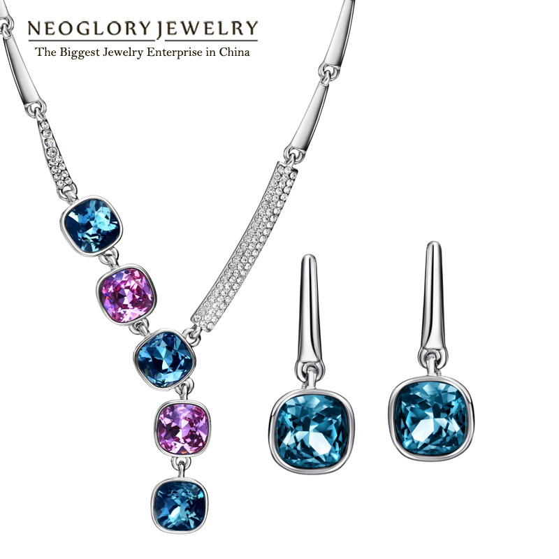 Neoglory Brand Indian Jewelry Sets Necklace Earrings Luxurious Birthday Gifts 2019 New Embellished with Crystals from Swarovski