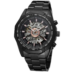 Image 1 - Forsining Fashion Men Skeleton Automatic Mechanical Watch Black Stainless Steel Watch Vintage Mens Watches Relogio Masculino