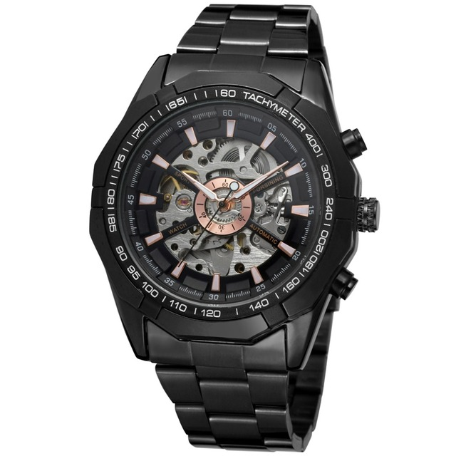 Forsining Fashion Men Skeleton Automatic Mechanical Watch Black Stainless Steel Watch Vintage Mens Watches Relogio Masculino