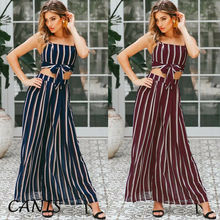 2PCS Women Outfits Set Sexy Lady Striped Crop Top +Pants Two Piece Wide Leg Trousers Clubwear tie side striped cami top with wide leg pants