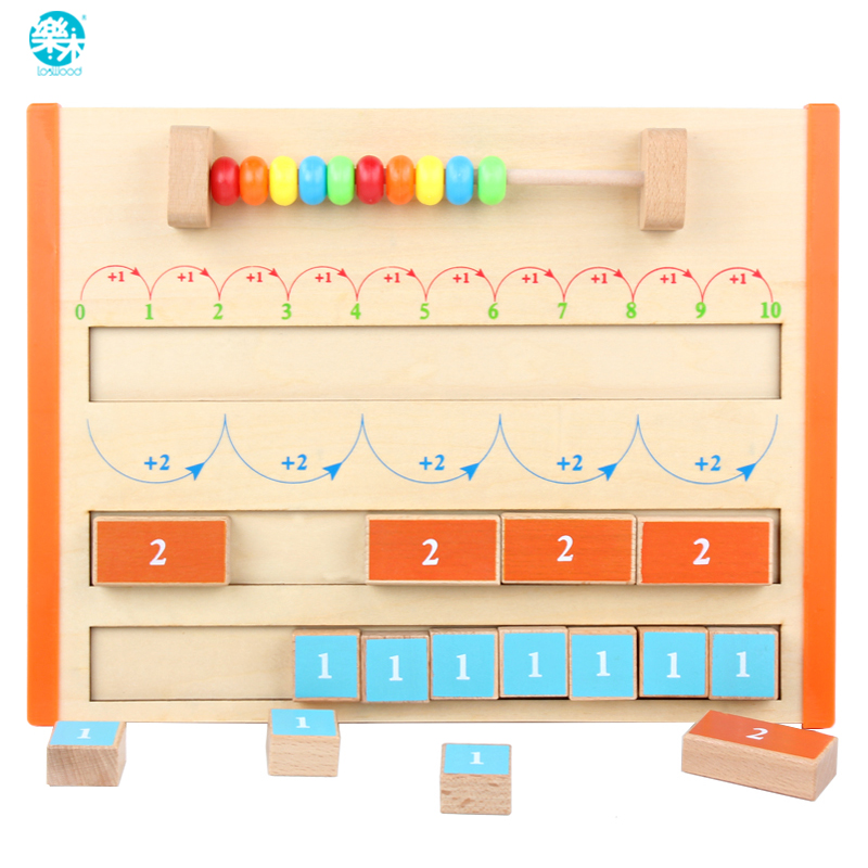Baby Toy Wooden Monterssori Math Toy 1-10 Arithmetic Board Addition Educational Wooden Toy Above 3 Years Gifts For Children