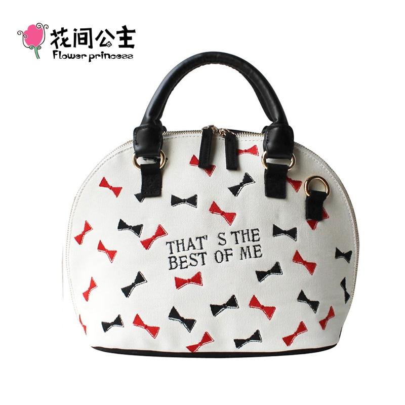 Flower Princess Brand Women Canvas Embroidery Bow Knot Zipper Shell Bags Ladies Top-Handle Handbags Girl Shoulder Crossbody Bag