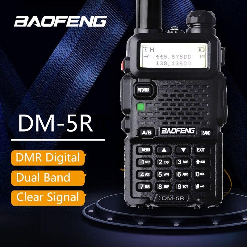 Baofeng DM-5R Talkie Taklie Double Bande DMR Numérique Radio DSP Émetteur-Récepteur 5 w VHF UHF 136-174/400-520 mhz Deux-Way Radio 2000 mah