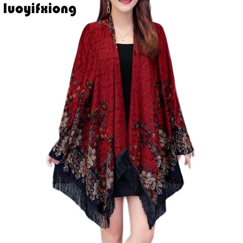 Kimono Cardigan Print Womens Tops and   Blouses   Long Sleeve Loose Tassel Hem   Blouse   Women   Shirts   Plus Size Blusas Chemisier Femme